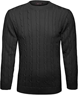 Islander Fashions Mens Round Neck Cable Knitted Winter Jumper Boys Long Sleeve Fancy Cardigan S / 5XL