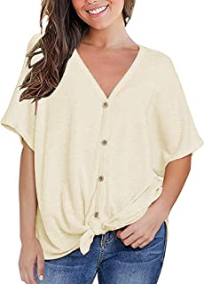 2565e00052b71f MOUEEY Womens Loose Blouse Short Sleeve V Neck Button Down T Shirts Tie  Front Knot Casual