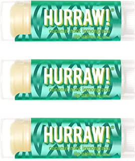 Hurraw! Pitta (Coconut, Mint, Lemongrass) Lip Balm, 3 Pack: Organic, Certified Vegan, Cruelty and Gluten Free. Non-GMO, 10...