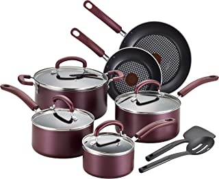 T-fal B130SC Color Luxe Hard Titanium Nonstick Thermo-Spot Dishwasher Safe PFOA Free Cookware Set, 12-Piece, Red