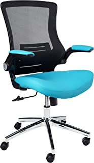 Office Star Bonded Leather Seat and Screen Back Manager's Chair with Padded Flip Arms, Blue