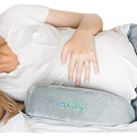OCCObaby Pregnancy Pillow, Memory Foam Body Wedge for Belly, Knees and Back Support, Reversible Maternity Pillow with Removable Cover and Travel Bag