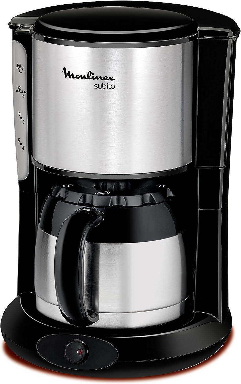Moulinex FT360811 - Cafetera de goteo, 850 W, 0.9 L, de café molido, acero inoxidable, negro