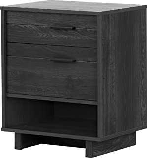 South Shore Fynn 2-Drawer Nightstand, Gray Oak with Metal Handles