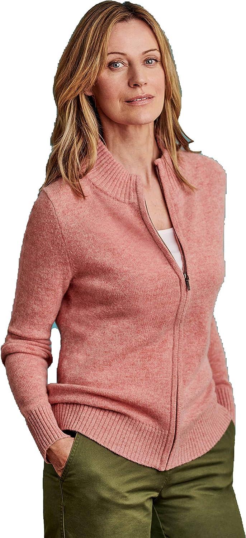 Wool Overs Womens Lambswool Zip Thru Cardigan Long Sleeve Rose Marl XS