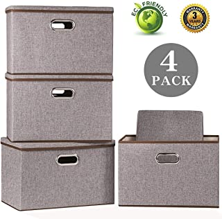 Large Foldable Storage Bin with Lid [4-Pack] Linen Fabric Decorative Storage Box Organizer Containers Basket Cube with Handles Divider for Bedroom Closet Office Living Room (17.7x11.8x11.8)
