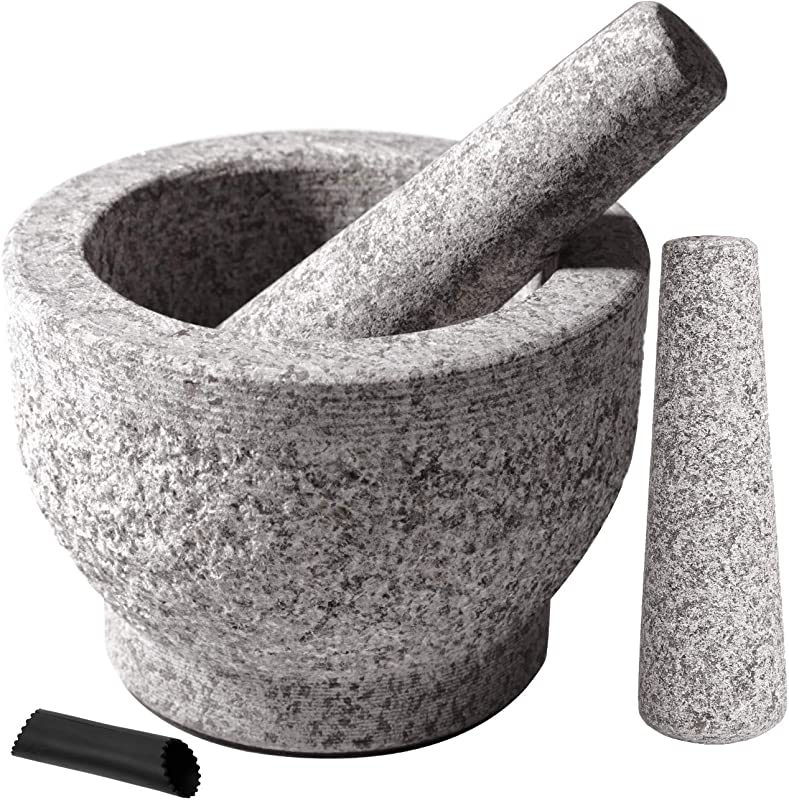 Tera Mortar And Pestle Set With 2 Pestles 6 Inch 2 Cup Capacity Unpolished Granite Mortar And Pestle BONUS Garlic Peeler Pestle Replacement FDA Approved Food Safe Spice Grinder Herb Bowl