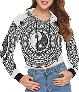 Ying Yang Print Crop Hoodie for Appointment