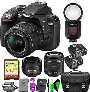 Nikon D3300 DSLR Camera (Black) + Nikon 18-55mm Lens + Nikon 35mm f/1.8 Lens + 64GB Memory Card + Round Head Speedlite V1-C