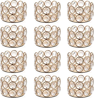 OwnMy Set of 12 Gold Crystal Tea Light Candle Holders Small Bowl Votive Candle Holders, Decorative Tealight Holders Pillar Ca