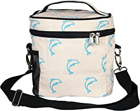 """EcoRight Lunch Bag Reusable Cotton Canvas EcoFriendly Insulated Cooler Washable Zipper for Men, Women, Adults Printed""""Dolphins"""" (Natural) -(0801S04)"""