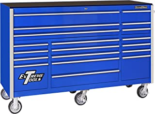 Extreme Tools RX722519RCBL Rx Series 19 Drawer Roller Cabinet with Ball Bearing Slides, 72-Inch, Blue High Gloss Powder Coat Finish