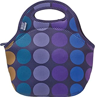 BUILT 5158477 Gourmet Getaway Soft Neoprene Lunch Tote Bag - Lightweight, Insulated and Reusable, Plum Dot