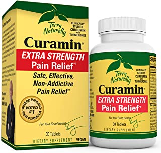 Sponsored Ad - Terry Naturally Curamin Extra Strength - 30 Vegan Tablets - Non-Addictive Pain Relief Supplement with Curcu...