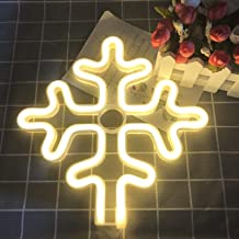 Neon Sign Light for Bedroom Decor, Novelty Night LED Lamp for Window Wall Decorative Powered by Battery/USB(Snowflake)