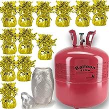 Helium Tank + 12 Balloon Weights, Gold, 5.5