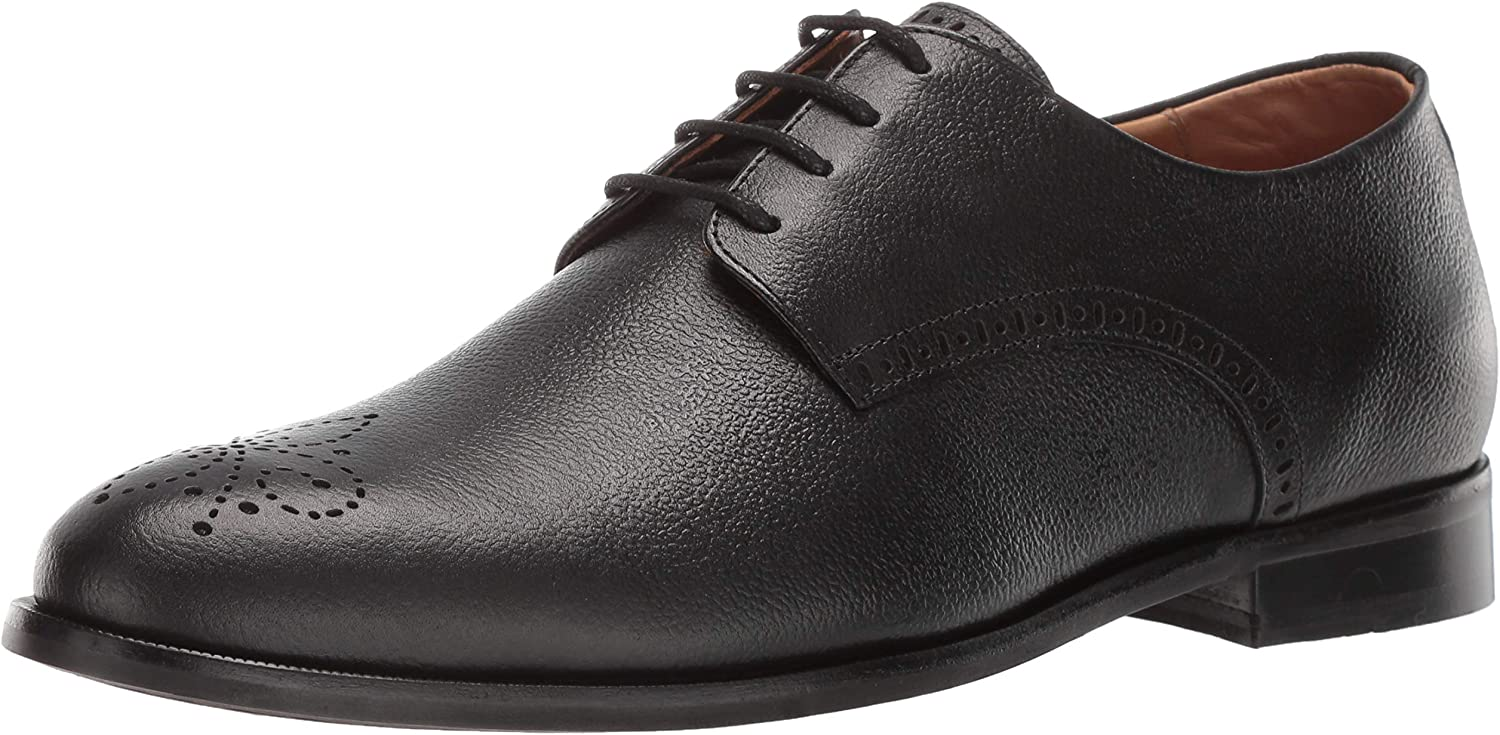 MARC JOSEPH NEW YORK Mens Leather Lace-Up Wingtip Dress shoes Oxford, Black Brushed Nappa, 10 M US
