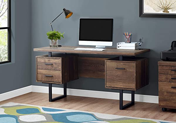 Monarch Specialties Computer Desk With Drawers Contemporary Style Home Office Computer Desk With Metal Legs 60 L Brown Reclaimed Wood Look