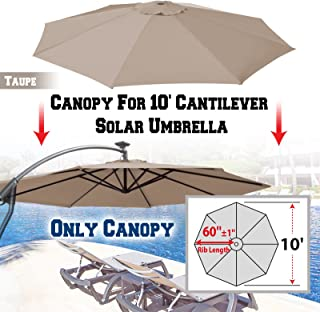 BenefitUSA Replacement Canopy Cover for 10' Cantilever Patio Umbrella Offest Parasol Top Cover (Taupe)
