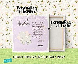 """Lienzo para Bebé con Nombre y Texto, todo es Personalizable!   Ideal para Habitación del Bebé   Diseño Único""""Lunadei""""   Me..."""