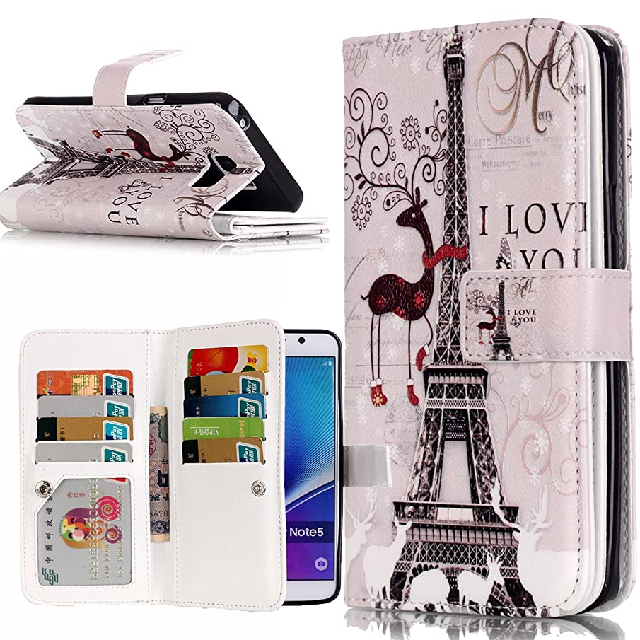 Galaxy Note 5 Case, LOKCEE 9 Card Slots Floral Design [Stand Feature] Magnetic Closure Leather Wallet Case with Credit Card Holders Flip Folio Cases Covers for Galaxy Note 5 (Tower)