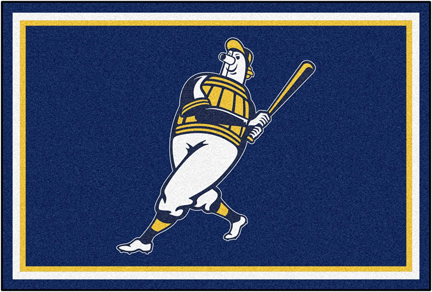 MLB Special Campaign - 55% OFF Milwaukee Brewers Barrell Man 5ft. 8 ft. Rug Area x Plush