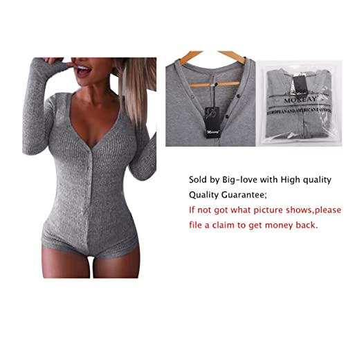 06ef01fa26c4 Moxeay V-Neck One Piece Bodysuit Bodycon Rompers Overall
