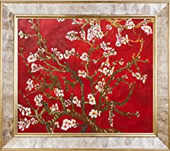 La Pastiche Almond Tree In Blossom, Ruby Red Metallic Embellished Framed Hand Painted Original Artwork By La Pastiche With...