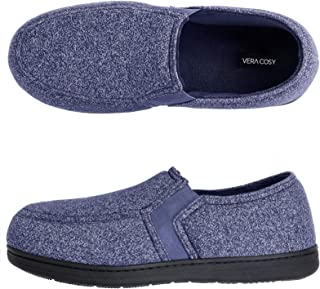 VeraCosy Men's Comfy Knitted Memory Foam Moc Slippers with Elastic Gores