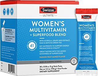 Swisse Green Superfood Powder + Multivitamin & Multi-Mineral Supplement Drink Mix for Women, Passion Fruit ...