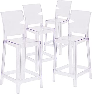 Flash Furniture 4 Pk. Ghost Counter Stool with Square Back in Transparent Crystal