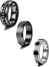Jstyle 3Pcs Stainless Steel Fidget Band Rings for Women Mens Cool Spinner Rings 6/8MM..