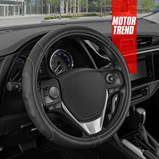 Motor Trend GripDrive Pro Synthetic Leather Auto Car Steering Wheel Cover Black w/Beige Accent Stitching Comfort Grip - Sm...