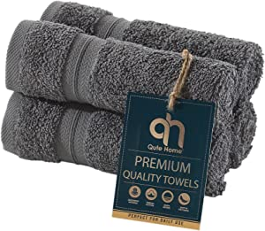 Qute Home 4-Piece Washcloths, Bosporus Collection 100% Turkish Cotton Premium Quality Towels for Bathroom, Quick Dry Soft and Absorbent Turkish Towel, Set Includes 4 Wash Cloths (Grey)