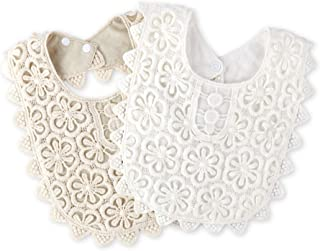Baby Bibs Lace Collar Bib for Drooling and Teething with Snap Gift Set