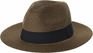 WITHMOONS Fedora Panama Hat Black Banded Wide Brim Cool Summer SL6690