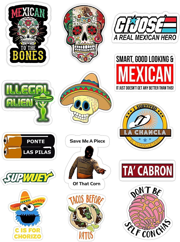 14 Mexican Stickers – Calcomanías Mexicanas para Carro, Laptop – 100% Vinyl Stickers Mexico Funny Decals for Hardhat, Bumper, Laptop, Water Bottle or Lunchbox. Pegatinas, Calcomanias para Autos