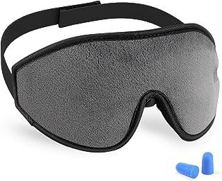3D Sleeping Mask Eye Cover, Cshidworld Patented Design 100% Blackout Sleep Mask Contoured Comfortable Lightweight Adjustable Eye Mask & Blindfold for Travel, Nap, Shift Works (Grey)