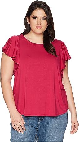 Karen Kane Plus Plus Size Flounce Sleeve Top