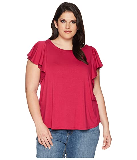 KAREN KANE PLUS Plus Size Flounce Sleeve Top, Pink