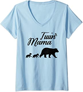 Womens Twin Mama Bear Mother's Day Gift for Mom of Twins V-Neck T-Shirt