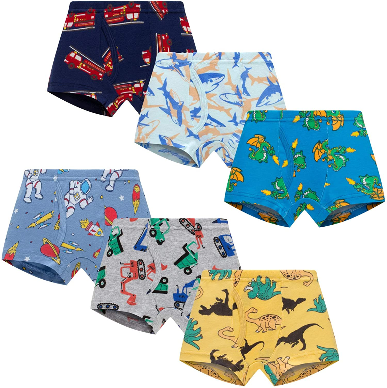 Boboking Little Boys Boxer Briefs Dinosaur Truck Shark Toddler Kids Underwear