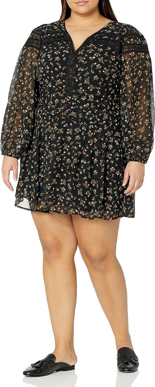 Sugar Lips Women's Size Floral Long Sleeve Mini Dress Plus