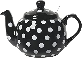 London Pottery LP78485 Farmhouse Teapot, 4 Cup Capacity, Black and White Polka Dots