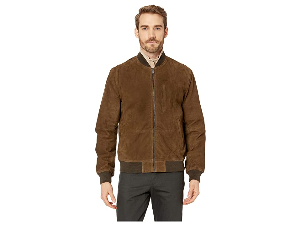 Lucky Brand Suede Leather Bomber Jacket (Dark Olive) Men
