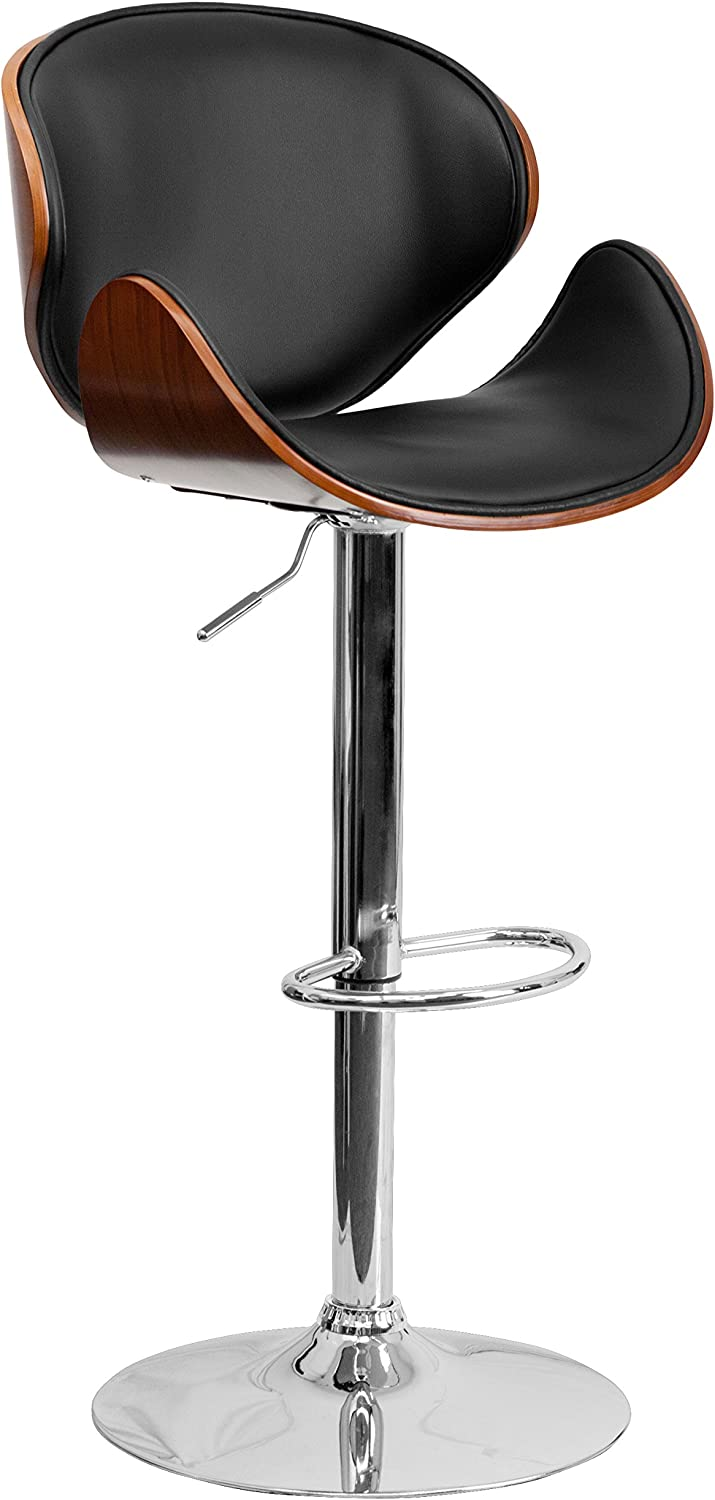 Flash Furniture Walnut Bentwood Adjustable Height Barstool with Curved Back and Black Vinyl Seat