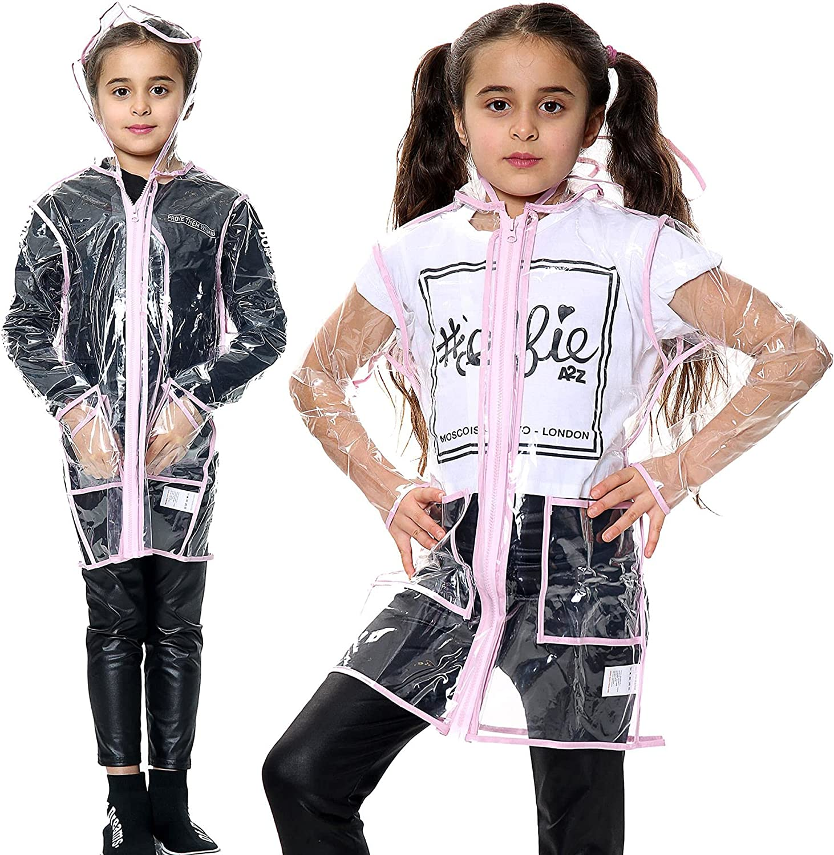 Kids Girls Raincoat EVA Transparent Rainwear Hooded Outdoor Rain Coats 5-13