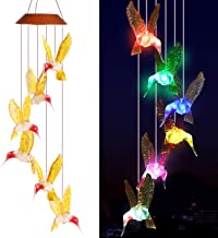 xxschy LED Solar Golden Hummingbird Wind Chimes Outdoor -Waterproof Solar Powered Changing Light Color 6 Hummingbirds Mobile Romantic Wind-Bell For Home, Party, Festival Decor, Night Garden Decoration