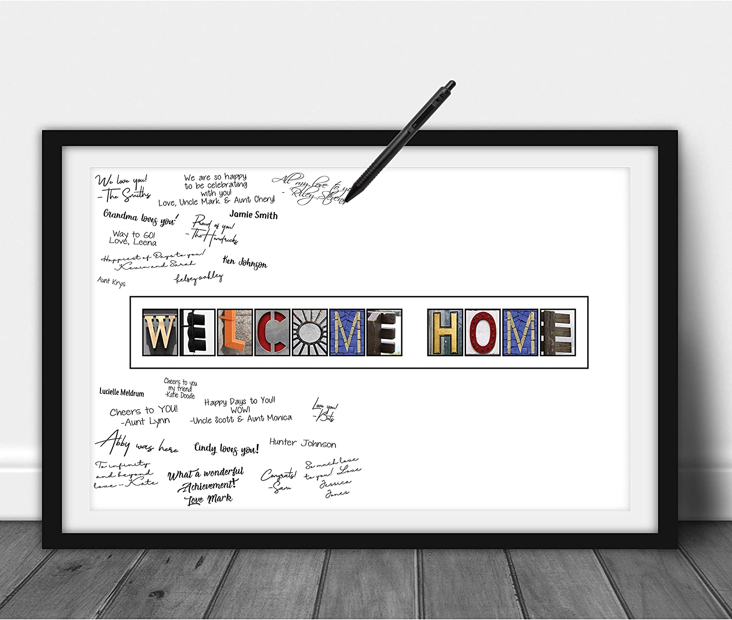 Katie Doodle Welcome Home Decorations - Creative Guest Book Alternative - Great Welcome Home Sign or Welcome Home Gifts for Military, New Home, Baby Girl or Boy - Includes 11x17 Inch Poster [Unframed]