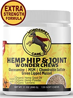 WonderPet Care Hemp Hip & Joint Supplement for Dogs Chondroitin Glucosamine MSM Hemp Oil Hemp Powder Turmeric | Extra Strength Formula for Arthritis Pain Relief & Mobility Increase | 120 Soft Chews